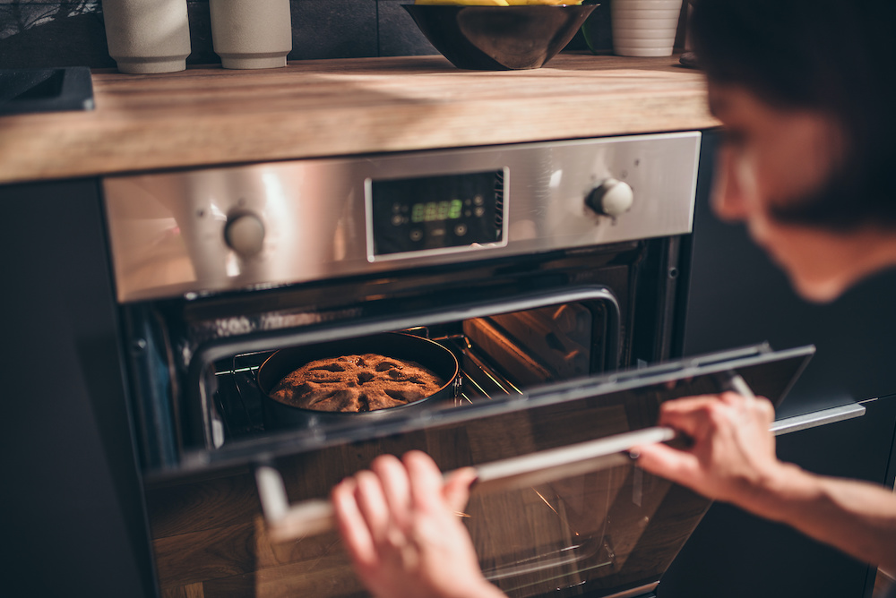 baking cake in convection oven