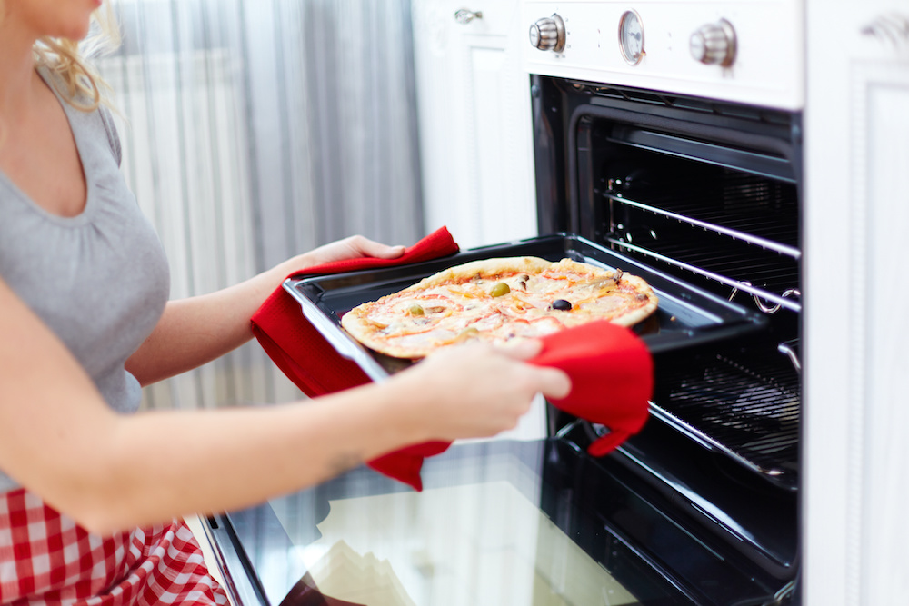 cooking pizza in a convection oven